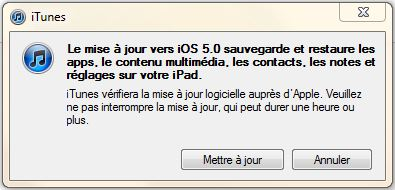 mise a jour apple ios 5 message