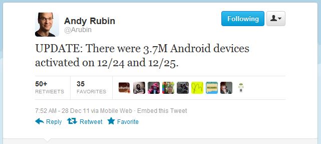 3.7 millions android activés à noël