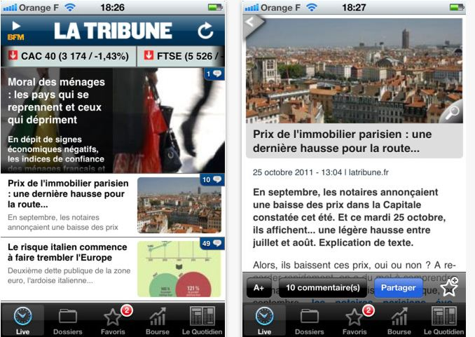 nouvelle application iphone la tribune Fr